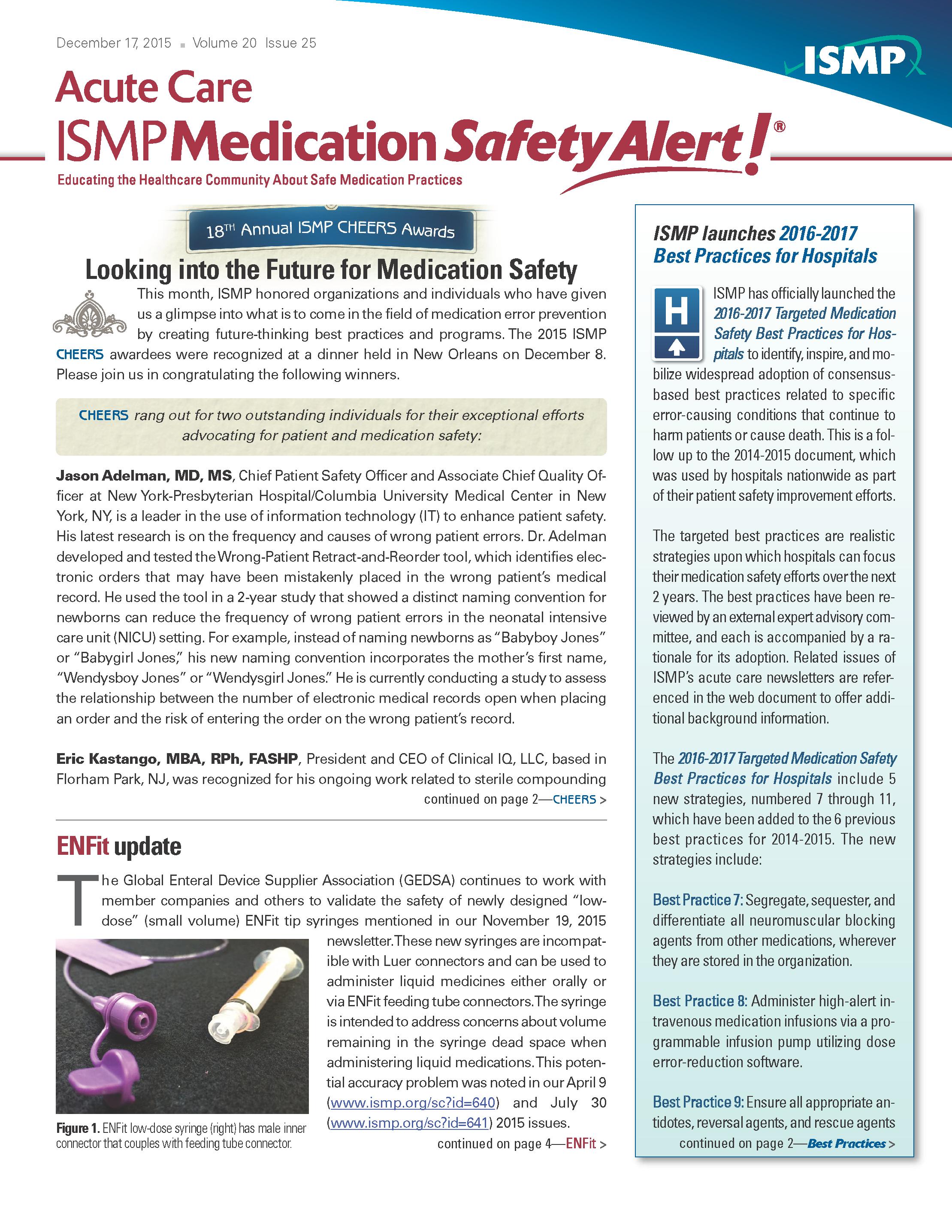 ISMP Medical Safety Alert